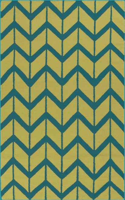 8' x 11' Chevron Pathway Green and Teal Blue Hand Woven Wool Area Throw Rug - IMAGE 1