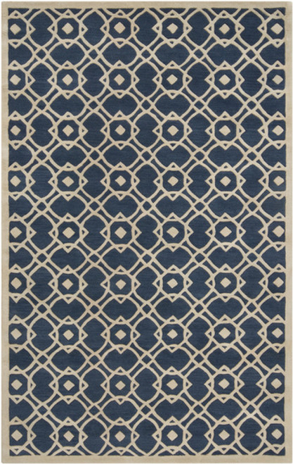 9' x 13' Navy Blue and White Entangled Symmetry New Zealand Wool Area Throw Rug - IMAGE 1