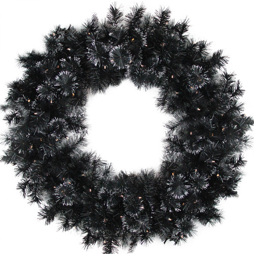"""36"""" Battery Operated Black Bristle Artificial Christmas Wreath - Warm White LED Lights - IMAGE 1"""