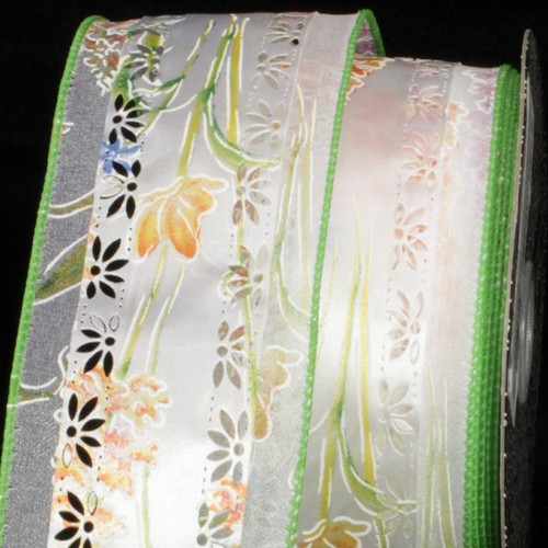 """White and Green Floral Marguerite Wired Craft Ribbon 2.5"""" x 20 Yards - IMAGE 1"""