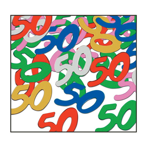 "Club Pack of 12 Vibrantly Colored Fanci-Fetti ""50"" Celebration Confetti Bags 0.5 oz. - IMAGE 1"