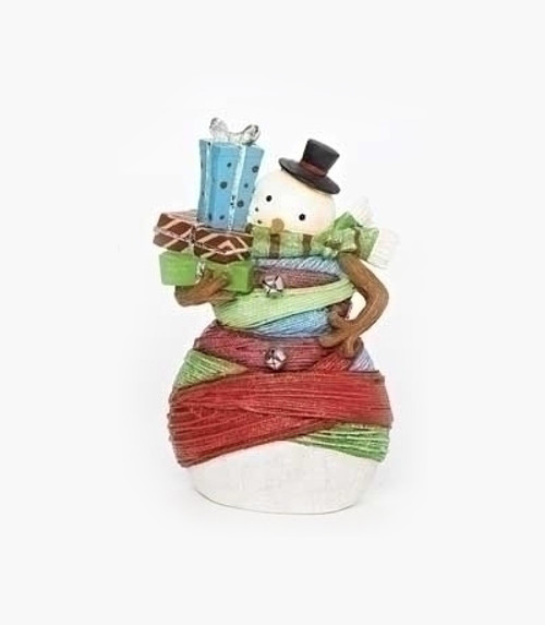 """7"""" Vibrantly Colored Striped and Yarn Wrapped Snowman with Gifts Christmas Figure - IMAGE 1"""