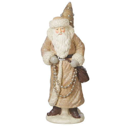 """23"""" Beige and Gold Colored Santa with Tree Christmas Tabletop Decoration - IMAGE 1"""