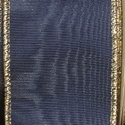 """Navy Blue Symphony Moire Edge Wired Craft Ribbon 2"""" x 44 Yards - IMAGE 1"""