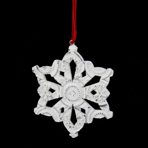 """3.25"""" Distressed White Glittery Embossed Snowflake Christmas Ornament - IMAGE 1"""