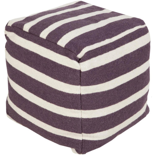 """18"""" Plum Purple and Cream Simply Striped Wool Square Pouf Ottoman - IMAGE 1"""