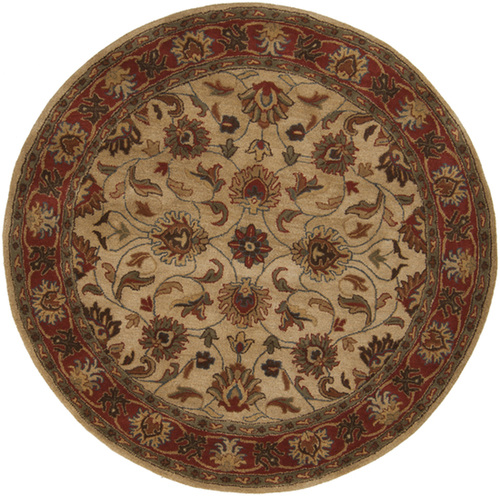 4' Brown and Beige Traditional Hand Tufted Round Area Throw Rug - IMAGE 1