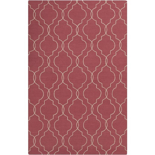 3.5' x 5.5' Quatrefoil Red and Beige Hand Tufted Rectangular Wool Area Throw Rug - IMAGE 1