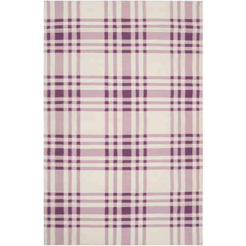 2' x 3' Purple and White Plaid Pattern Wool Area Throw Rug - IMAGE 1