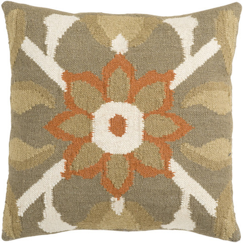 """22"""" Green and Orange Floral Square Throw Pillow - IMAGE 1"""