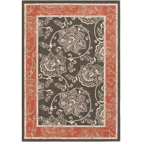 5.25' x 7.5' Red and Black Floral Rectangular Area Throw Rug - IMAGE 1