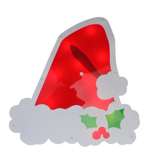 """12.5"""" Lighted White and Red Santa Hat Christmas Window Silhouette Decoration - IMAGE 1"""