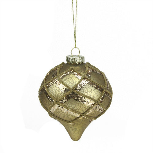 """4.5"""" Gold Glittered Onion Christmas Finial Ornament - IMAGE 1"""