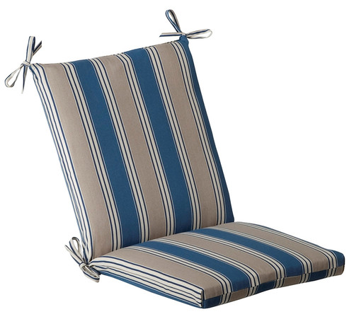 """Blue and White Striped Outdoor Patio Furniture Corner Chair Cushion 36.5"""" - IMAGE 1"""