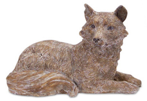 """17"""" Woodland Rustic Style White and Brown Lying Fox Decorative Figure - IMAGE 1"""