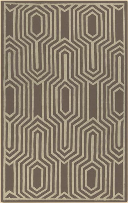 2.5' x 8' Coffee Brown and Beige Geometric Hand Woven Rectangular Area Throw Rug Runner - IMAGE 1