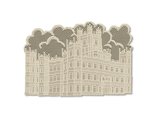 "Set of 4 Beige Downton Abbey British Highclere Castle Lace Table Placemats 20"" x 14"" - IMAGE 1"