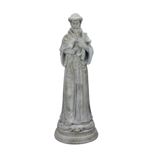 """23.5"""" St. Francis of Assisi with Bird Religious Spring Outdoor Garden Statue - IMAGE 1"""