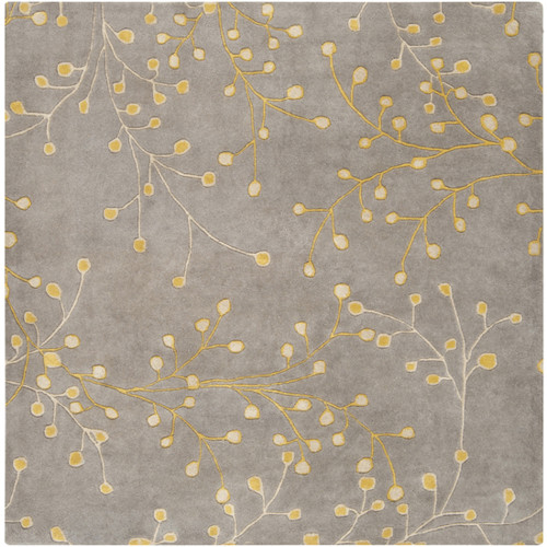 9.75' x 9.75' Gray and Yellow Square Wool Area Throw Rug - IMAGE 1