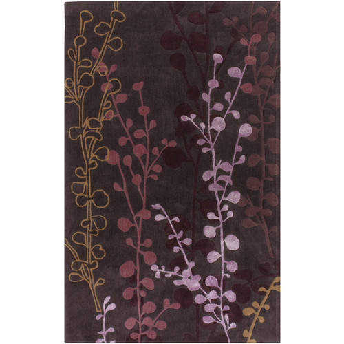 3.5' x 5.5' Midnight Flowers Pink and Purple Hand Tufted Rectangular Area Throw Rug - IMAGE 1
