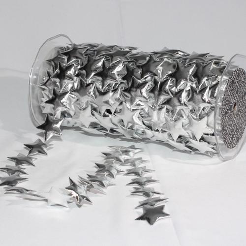 "Silver Fine Lame Stars Craft Ribbon 1.5"" x 20 Yards - IMAGE 1"