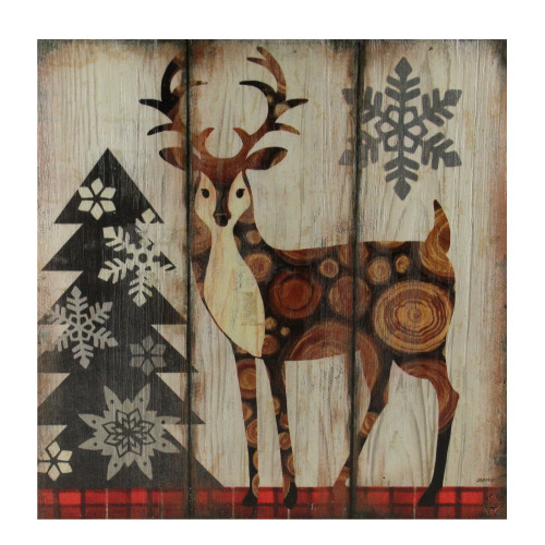 """13.75"""" Alpine Chic Buck Standing in Woods with Snowflakes Wall Art Plaque - IMAGE 1"""