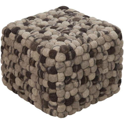 "12"" Taupe and Gray Shag Checkerboard Wool Square Pouf Ottoman - IMAGE 1"