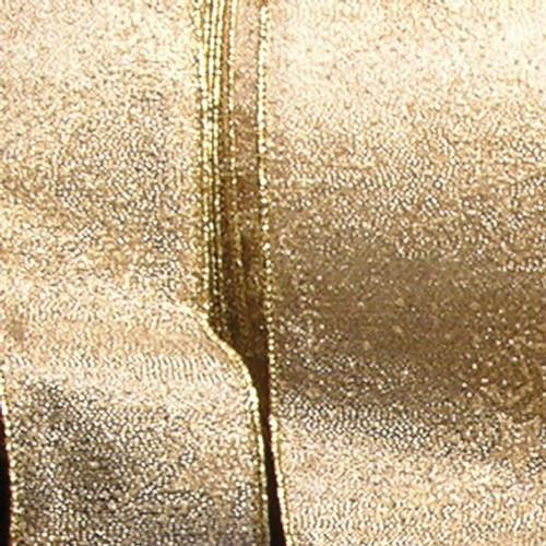 "Metallic Gold Stars Wired Craft Ribbon 6"" x 20 Yards - IMAGE 1"