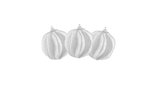 """3ct White and Silver Beaded Shatterproof Christmas Ball Ornaments 3"""" (75mm) - IMAGE 1"""