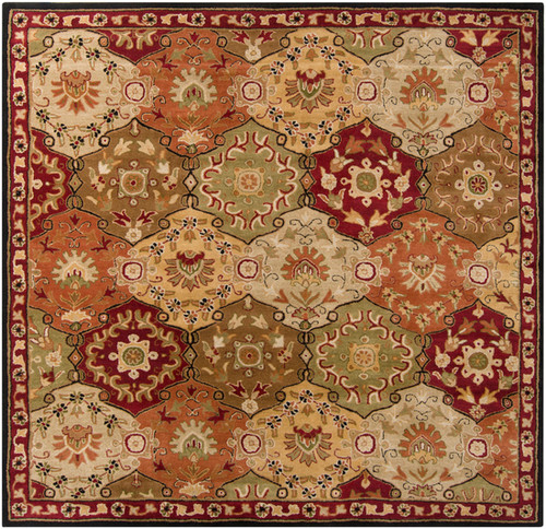 8' x 8' Clover Brown and Olive Green Square Wool Area Throw Rug - IMAGE 1
