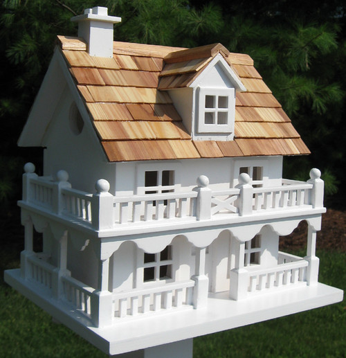"""10.75"""" White and Brown New England Cottage Outdoor Garden Birdhouse - IMAGE 1"""