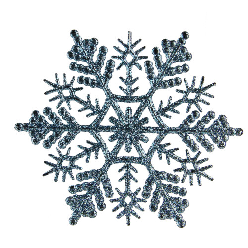 "24ct Baby Blue Holiday Collections Glittered Snowflake Christmas Ornaments 4"" - IMAGE 1"