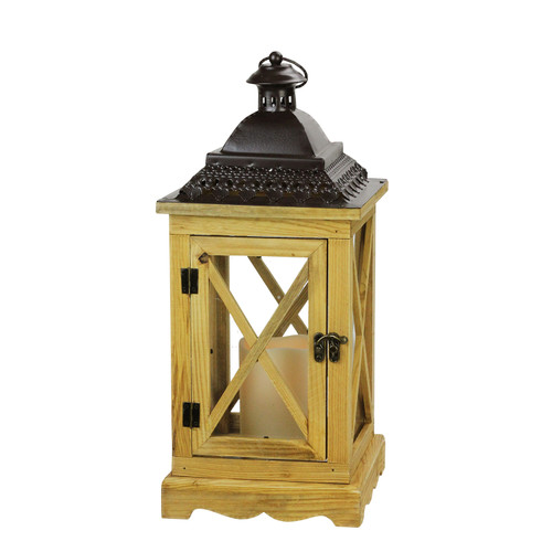 """17.5"""" Rustic Wooden Lantern with Brown Metal Top and LED Flameless Pillar Candle with Timer - IMAGE 1"""