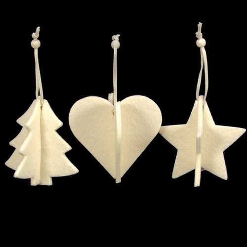Club Pack of 15 Ivory Tree, Heart And Star 3D Felt Ornaments - IMAGE 1