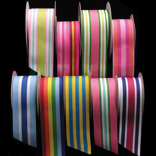 """Pink and Green Striped Woven Grosgrain Craft Ribbon 1.75"""" x 55 Yards - IMAGE 1"""