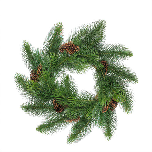 Long Needle Pine Artificial Christmas Wreath with Pine Cones - 44-Inch, Unlit - IMAGE 1