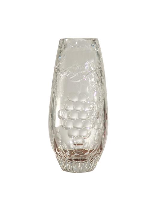 "9"" Small Grape Vine Decorative Hand Cut Crystal Glass Vase - IMAGE 1"