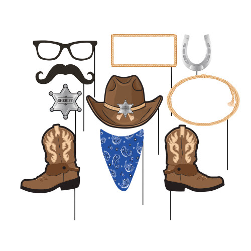 """Club Pack of 60 Blue and Brown Cowboy Assorted Photo Booth Party Props 10"""" - IMAGE 1"""