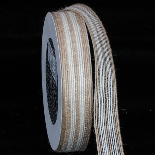 """Brown and White Woven Edge Craft Ribbon 1"""" x 108 Yards - IMAGE 1"""