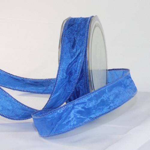 "Royal Blue Crinkled Satin Wired Craft Ribbon 1"" x 54 Yards - IMAGE 1"