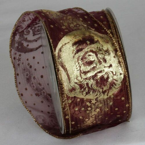 """Burgundy Red and Gold Saint Nicholas Sheer Wired Craft Ribbon 2.5"""" x 20 Yards - IMAGE 1"""
