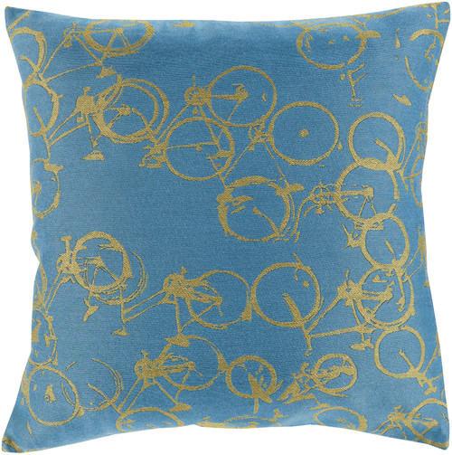 """22"""" Green and Blue Crazed Cycles Printed Square Throw Pillow - IMAGE 1"""