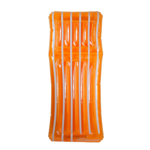 "72"" Inflatable Orange and White Transparent Cool Stripe Swimming Pool Mattress Float - IMAGE 1"