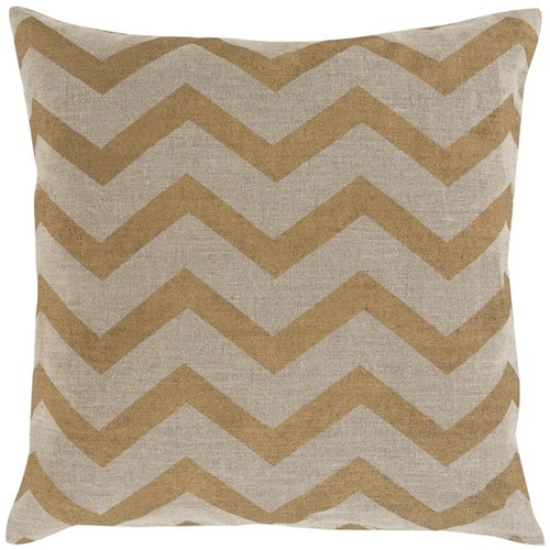"""22"""" Gold and Tan Contemporary Geometric Square Throw Pillow - Down Filler - IMAGE 1"""