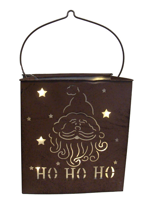 "12.5"" Pre-Lit Brown Shimmering Battery Operated LED Santa Claus Christmas Lantern - IMAGE 1"