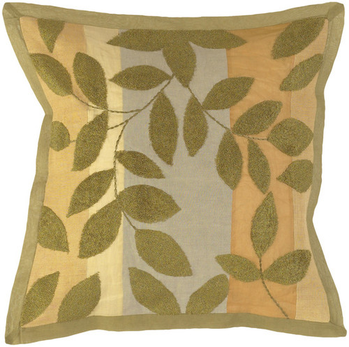 """18"""" Olive Green and Beige Woven Square Throw Pillow - Down Filler - IMAGE 1"""