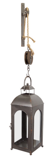 """50"""" French Countryside Wall Mounted Pulley Metal and Glass Lantern - IMAGE 1"""