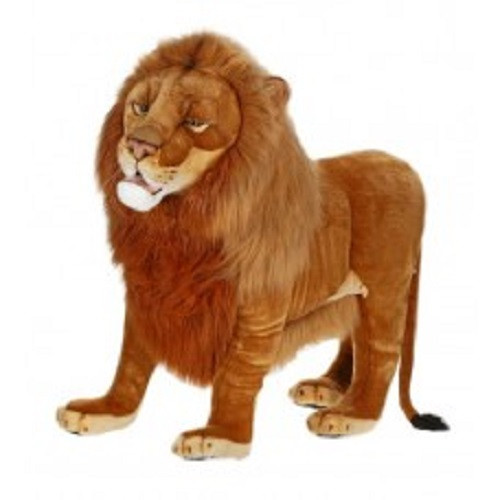 """54.5"""" Brown Handcrafted Soft Plush Ride-On Male Lion Stuffed Animal - IMAGE 1"""