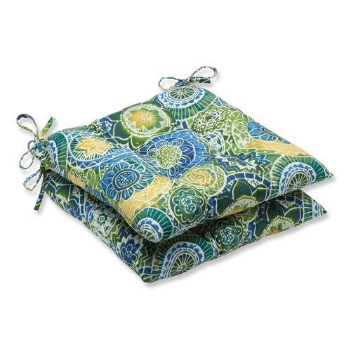 """Set of 2 Blue and Green Outdoor Patio Chair Cushions 19"""" - IMAGE 1"""