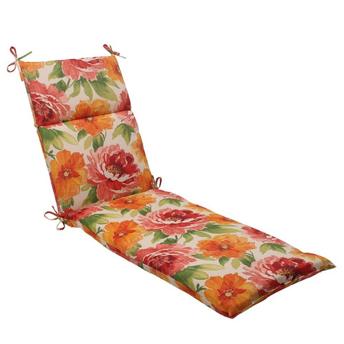 """72.5"""" White and Red Floral Solid Outdoor Patio Chaise Lounge Cushion - IMAGE 1"""